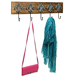 Antique French Fleur de Lis Design Wood & Metal 5 Hook Wall Mounted Hanging Door Storage Rack - MyGift
