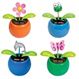Warm Fuzzy Toys (Set) Frog, Butterfly, Flower, And Dolphin Bobbing Solar Powered Shakers