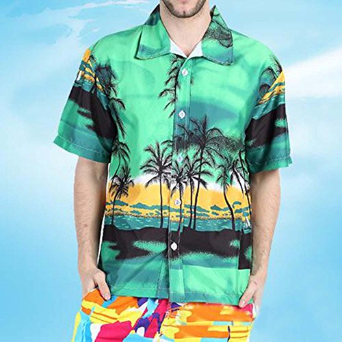 Taille Imprimé Coton Hawaienne Plage En Grande Chemise Vert Homme Youthny Yv7twqAw