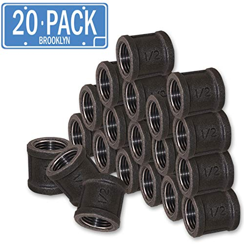 (Brooklyn Pipe 1/2 Inch Pipe Fittings (1/2 Inch Coupling, 20 Pack) Black Pipe fittings made from Malleable Cast Iron perfect for Industrial, Vintage, Steampunk themed DIY furniture, tables, and shelves )