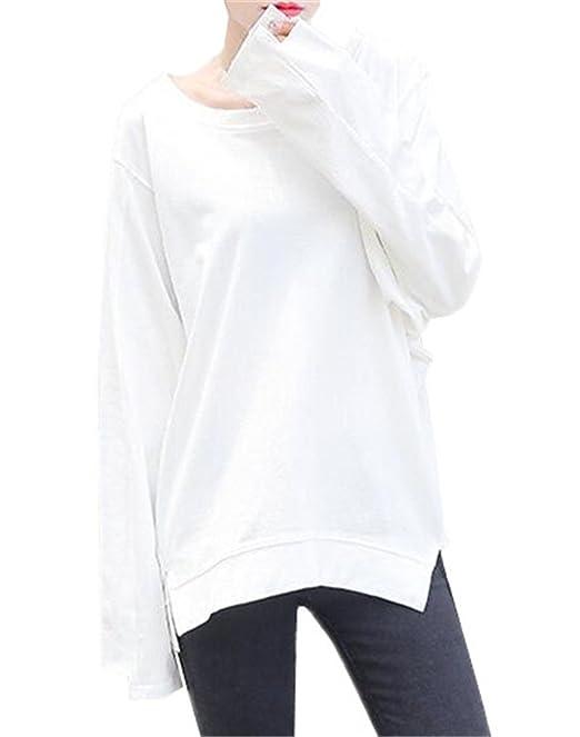 Kerlana Blusas Moda Mujer Manga Larga Cuello Redondo T-Shirts Color Sólido Casual Pulover Personalidad