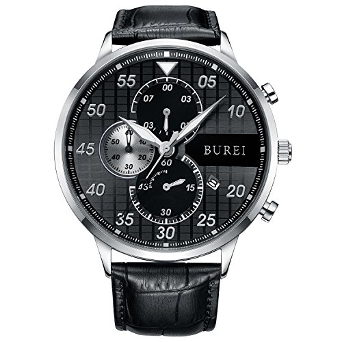 BUREI Latest Casual Dress Chronograph Watch Arabic Numerals Analog Quartz Stopwatch with Black Leather