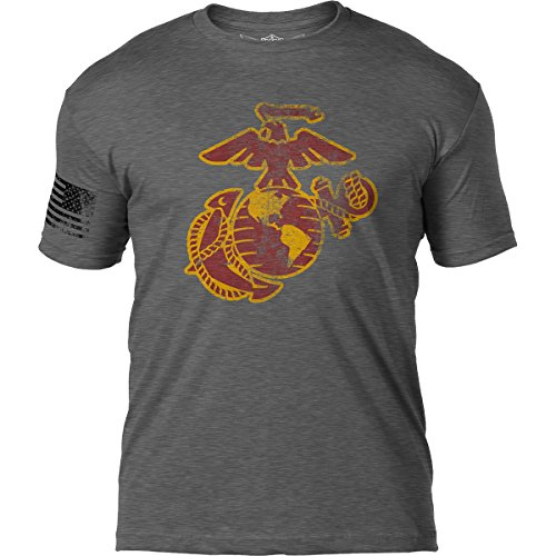 Marine Corps Military T-shirt - 7.62 Design USMC Eagle Globe & Anchor Distressed Mens T Shirt,Heather Graphite,Medium