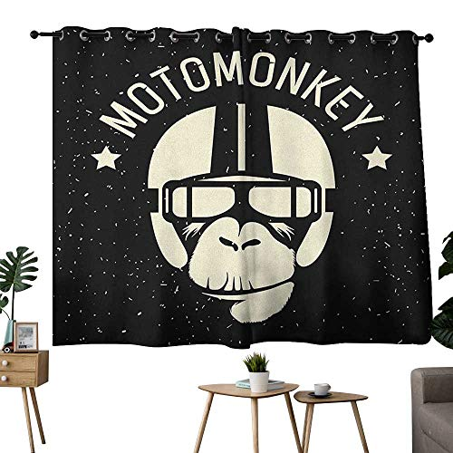 homecoco Outer Space Grommets Family Darkening Curtains Sign Alien Monkey with Astronaut Costume in a Galaxy with Stars Poster Curtain Decoration Black and White W72 x L63 ()