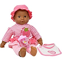 """16"""" African American Soft Body Baby Doll With Outfit, Bib and Baby Bottle, Doll Plays 3 Different Baby Sounds"""