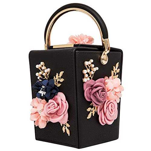 (Women Satin Flower Evening Bag Box Clutch Bridal Clutch for Wedding Prom Cocktail Party)