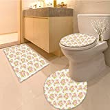 3 Piece Anti-slip mat set Collection Silhouette of Rose Branches Twig Ornamenta Old Fashioned Antique Design F Non Slip Bathroom Rugs