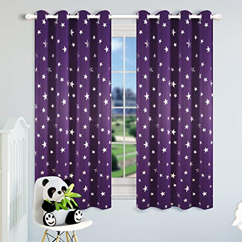 Kotile Blackout Purple Curtains for Girls Room/Kids Room 63 Inch Length 2 Panels, Home Decor Window Treatment Thermal Insulated Ring Top Curtains with Silver Star Print, Royal Purple