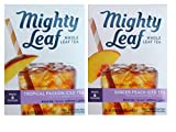 Mighty Leaf Iced Tea Pitcher Bag Flavored Teas 2 Flavor Variety Bundle; (1) Ginger Peach Iced Tea, and (1) Tropical Passion Iced Tea, 1.48 Oz. Ea.