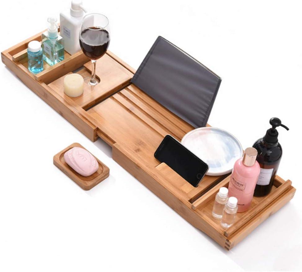 Fikujap Bambus Badewanne Tray Caddy Adjustable Holz Tub Tablett mit Seiten erstrecken Buch /& Weinglas-Halter und Freie Seifenschale f/ür Luxury Spa oder Lesen