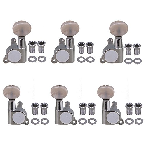 Yibuy 4x3.7cm 3L3R White Button Chrome Full Closed Tuning Pegs Machine Heads Guitar Accessories Folk Guitar Pack of 6