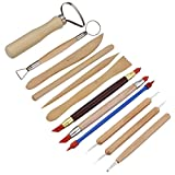 Meuxan 33PCS Clay & Pottery Sculpting Tool Kit with Canvas Storage Case