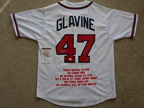 (Tom Glavine Autographed Signed Memorabilia Braves Stat Jersey / 300 Wins / 10X All Star / 2600 Ml Ks - Certified Authentic)