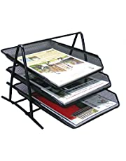 Minima 3 Tier Stackable Desktop Document Paper Letter File Sliding Tray Desk Organiser for Home Office School, Black