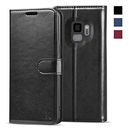 KILINO Samsung Galaxy S9 Wallet Case [Shock-Absorbent Bumper][Card Slots][Kickstand][RFID Blocking] Leather Flip Case Compatible with Samsung Galaxy S9 - Black