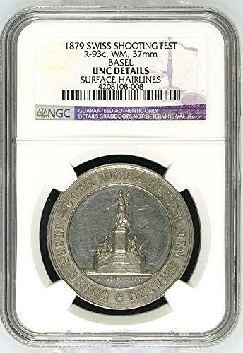 1879 CH Swiss 1879 Shooting Medal Basel R-93c White Metal coin Good NGC