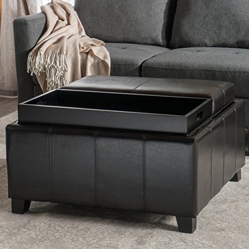 Great Deal Furniture 220525 Plymouth Espresso Leather Tray Top Storage Ottoman, Brown