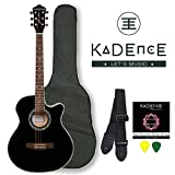 Kadence Frontier Series,Black Acoustic Guitar With EQ Combo (Bag,Strap,Strings And 3 Picks)