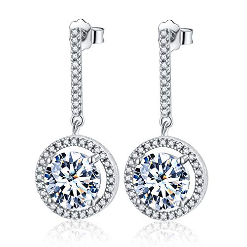 Esberry 18K Gold Plating 925 Sterling Silver CZ Simulated Diamond Round Dangle Earrings Cubic Zirconia Circle Drop Earrings Jewelry for Women and Girls