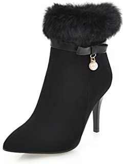 Women's Beaded Faux Fur Inside Zip Up Dress Pointy Toe Ankle Boots Stiletto High Heels Booties With Bows