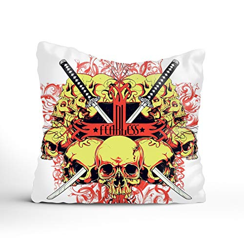 FunnyLife Cotton Linen Throw Pillow Case Fearless Skulls Square Decorative Cushion Cover