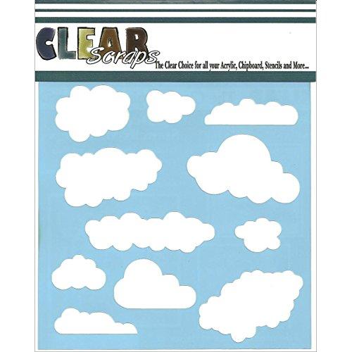 Clear Scraps CSSM6-CLOUD Translucent Plastic Film Stencil, C