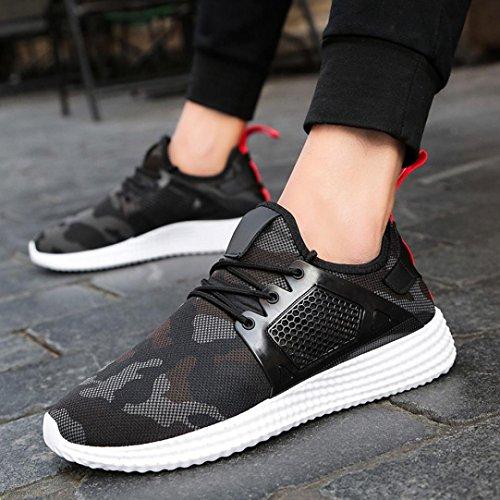 Sky Zapatos de Deportes de Los Hombres de Malla Zapatos Deportivos Zapatillas de Deporte Straps Sports Running Sneakers Camouflage Shoes (39, Negro)