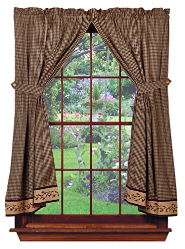 Berry Vine Panels, 72''x63'', Black Check, Country Primitive Drape Curtains by Piper Classics (Image #2)