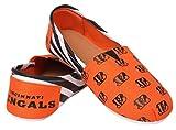 Forever Collectibles Cincinnati Bengals Women's NFL Slip On Canvas Stripe Shoe Slippers