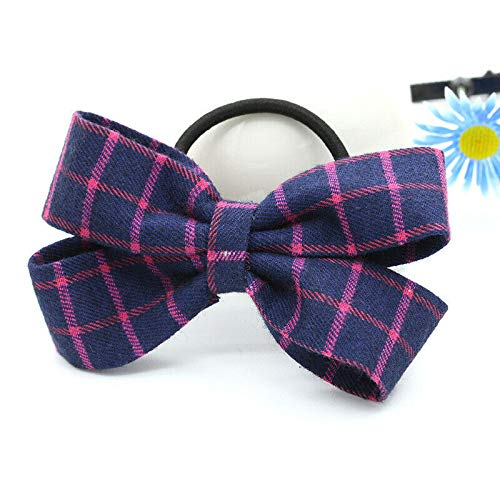 Charm Women Bow Knot Hair Band Elastic Tie Rope Ring Scrunchie Ponytail Holder (Patterns - #A Blue Rose Red Grid)