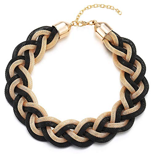 (COOLSTEELANDBEYOND Gold Black Statement Necklace, Braided Hollow Cable Large Bib Choker Collar, Dress Prom)
