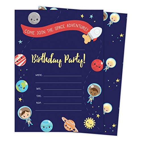 Space Star Galaxy Style 3 Happy Birthday Invitations Invite Cards (25 Count) with Envelopes and Seal Stickers Boys Girls Kids Party (25ct)