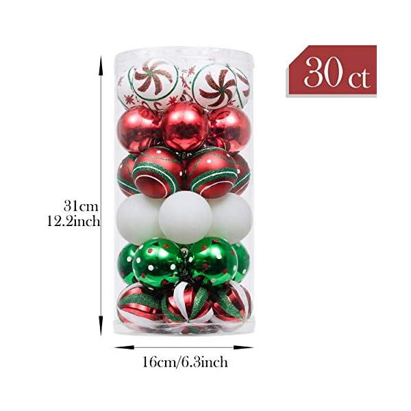 Valery Madelyn Palle di Natale 30 Pezzi 6cm Palline di Natale, Collezione Classica Rosso Verde e Bianco Infrangibile Ornamenti di Palla di Natale Decorazione per la Decorazione Dell'Albero di Natale 2 spesavip
