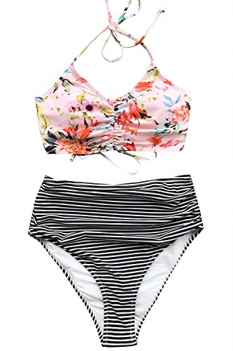 CUPSHE Women's This is Love High Waisted Lace Up Halter Bikini Set, Pink, - Halter Vinyl Bra