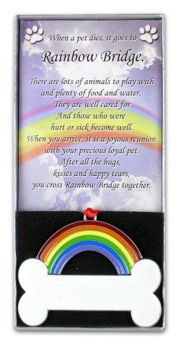 Rainbow Bridge Personalized Bone Pet Bereavement Ornament~Pe