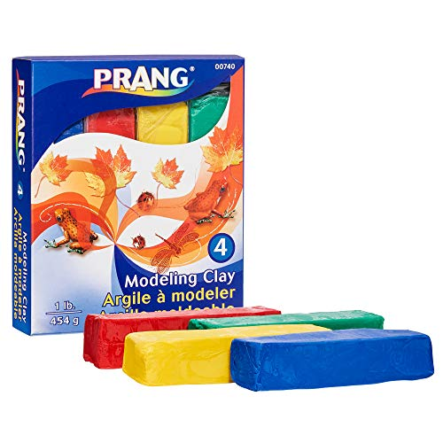Prang Modeling Clay Set, 4 Colored Clay Blocks per Set, 0.25 Pounds Each, Red, Yellow, Green and Blue - Clay Modeling Prang