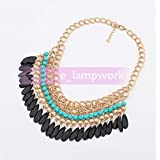 210-4# Lt Blue Elegant Women Jewelry Pendant Crystal Choker Chunky Statement Chain Bib Necklace