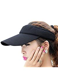 Women&Girls Mesh Adjustable Strap Wide Brim Visor Cap UV Protection Summer Sun Hats