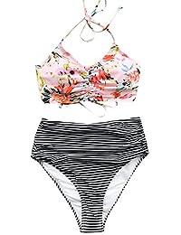 CUPSHE Women's Attract Attention High Waisted Halter Bikini Set Swimwear