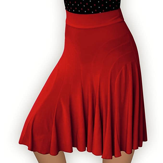 1940s Style Skirts- High Waist Vintage Skirts Aris Allen Red Deco Accents Skirt $39.95 AT vintagedancer.com