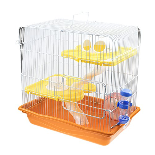 GNB PET Hamster Cage DIY Habitat, 3-Level Habitat with Tunnels & Complete Accessories, Orange