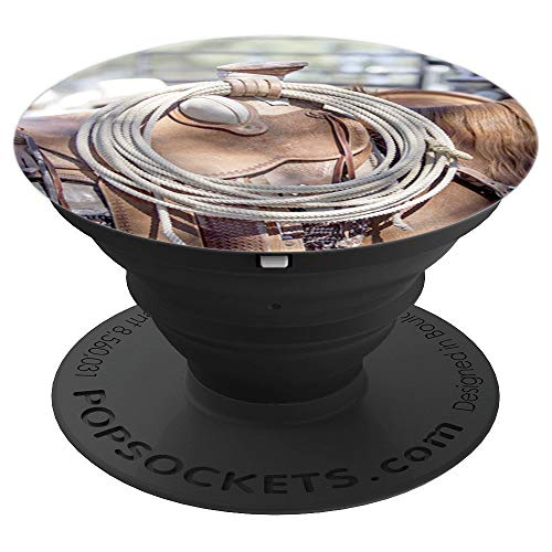 Fun Rodeo Gifts - Western Saddle Horn and Lariat Rope - PopSockets Grip and Stand for Phones and Tablets