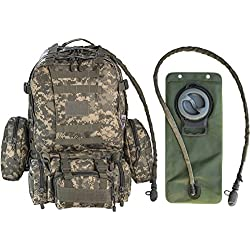 Monkey Paks Tactical Military Backpack Bundle with 2.5L Hydration Water Bladder and 3 Molle Bags (ACU Digital))