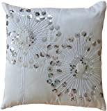 Decorative Silver Sequins Dandelion Floral Throw Pillow COVER 18'' White Silver