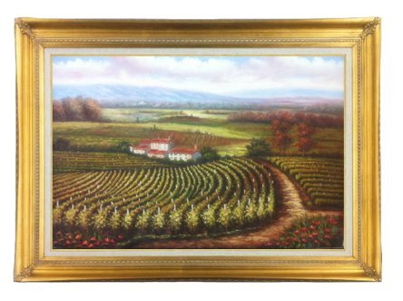 Roger Williams Genre Art - Tuscany Art Italian Italy Vineyard Wine Oil Painting on Canvas (24