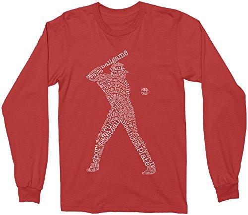 (Mixtbrand Big Boys' Baseball Player Typography Youth Long Sleeve T-Shirt S Red)