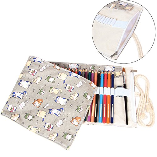 Damero 48 Canvas Colored Pencils Wrap, Travel Pencil Holder Case Roll up Pen Holder with Zipper Pouch for Pencil Accessories--Cartoon Cats(NO Pencil included)