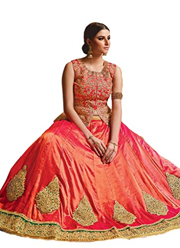 Ethnicwear Latest Designer Orange Art Silk Wedding Party Wear Embroidered Patch Border Work Lehenga Choli Chagara Choli by Ethnicwear