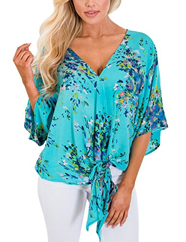 Utyful Women's Summer Floral Print Tie Front V Neck Chiffon Tops Blouses Shirts