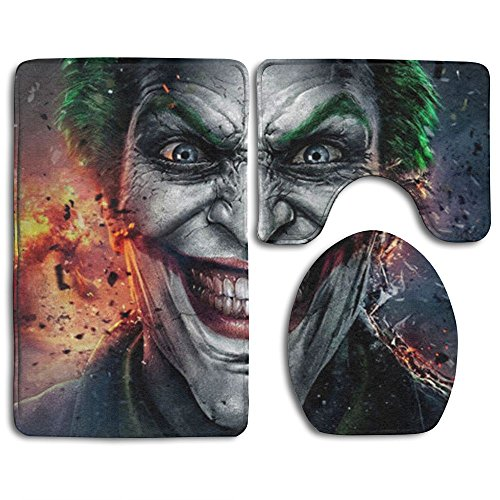 MERCURY Microfiber Bathroom Contour Rugs Combo 3D Pattern The Smile Of The Devil 3-Piece Sets Toilet Mats Non-Slip Shower Floor Rugs Pedestal Rug + Lid Toilet Cover + Bath Mat Mercury Hand Woven Rug